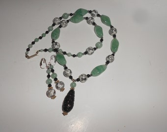Black Jade & Aventurine Chinese Carved Pendant With Porcelain Bead Accents With Matched Earrings Set