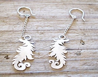 Dangle Earrings Victorian Feather Damask silver Recycled eco Friendly Dangle Sterling Earrings Hand cut Feather silver boho Dangle Earrings