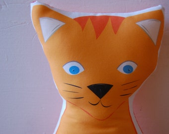 Organic FABRIC DIY Sew-Your-Own Stuffed Animal Pillows SET of two (large orange cat and small grey cat organic cotton fabric for pillow)