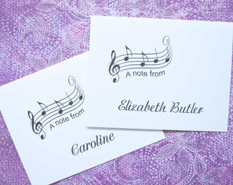 Musical Note Cards, Personalized Music Cards, Custom Monogram, Piano, Band, Symphony, Orchestra, Musician/Music Teacher/Dancer/Musical Staff