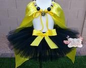 BAT MAN inspired Super Hero- Black and Yellow toddler/child Tutu/Cape Set- Newborn-5t