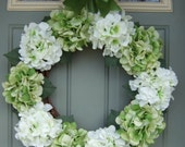 Spring Wreath - XL Spring Hydrangea Wreath - Spring Door Wreath