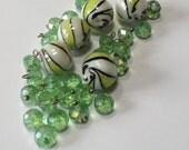 Island Lime - Lampworl Glass and Faceted Crystal - Bead and Drop Mix - 30 Beads
