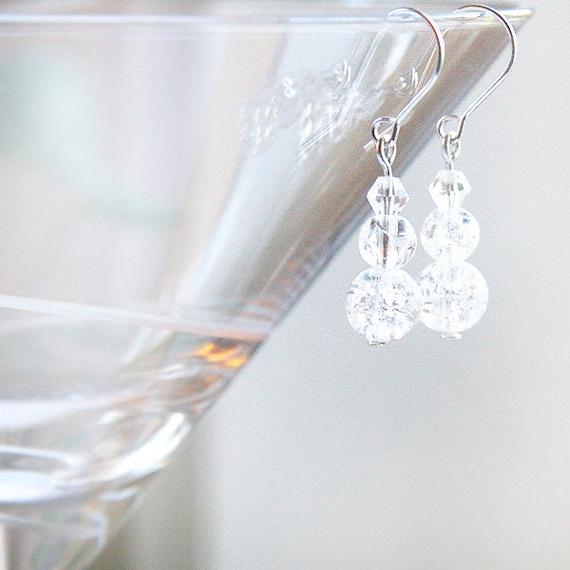 Snowman Earrings, Crackle Glass Beads, Frozen Ice Earrings, Clear White Crystal Earrings, Sterling Silver Earrings, Winter Wedding Earrings