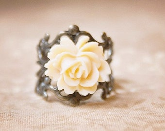 Handmade Ivory Rose Ring Ivory Flower Ring Resin Flower Ring Antiqued Gold Filigree Ring