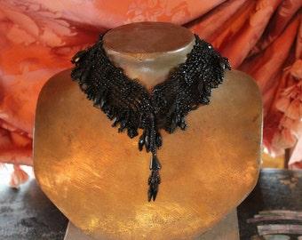 Antique Victorian Black Glass Bead Lace Trim Adornments  SALE - was 48.00