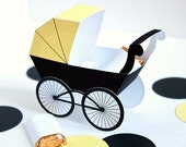 Baby Carriage Favor Box - Soft Yellow & Black : DIY Printable Baby Buggy Gift Box | Pram | Bumble Bee | Baby Shower Favor - Instant Download