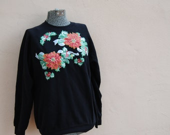 Vintage 1980's Ugly Christmas Sweater with Glitter Poinsettias
