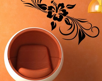 Vinyl Wall Decal Sticker Hibiscus Plant 5330s