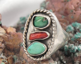 Coral, Green and Blue Turquoise Sterling Ring