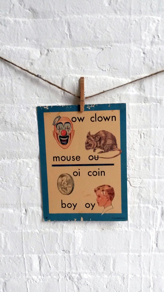 Vintage Large Flashcard ow Clown ou Mouse oi Coin oy Boy - Picture Flashcard Words