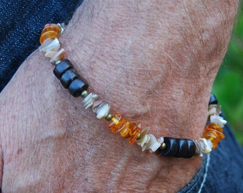 CLEARANCE - Smoking Hot - 9.25 In. Bracelet - Amber, Metal, Sea Shell & Wood - SGArtCA Handsome Handmade Jewelry