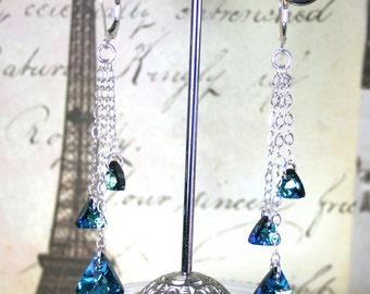 Bermuda Triangle Earrings in Bermuda Blue - Swarovski Crystal And Sterling Silver