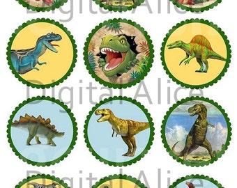 DINOSAURS Craft Circles - Kids Dinosaur Party -Frisky Dinosaurs- Instant Download Digital Printable Bottlecaps Cupcakes Collage Sheet