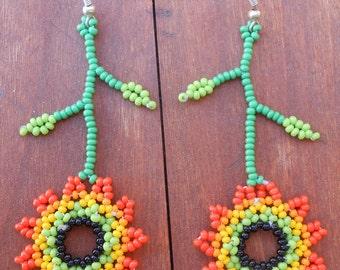 Sunny Sunflower Floral Beaded Earrings
