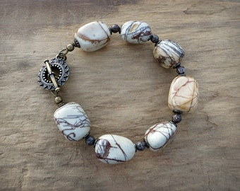 Chunky White Jasper Bracelet, rustic Bohemian Picasso jasper stone pebble statement bracelet in brown and white