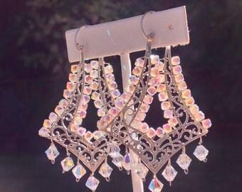 Dazzling sparkling chandelier earrings