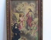 Antique Jesus Sacred Heart Angels Religious Icon Wall Art Overpainted Print by W.O.H. St. Dominic's Monastery 1923, Catholic MAGNIFICENT