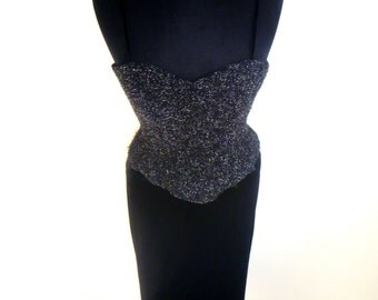 Vintage 80's Black Velvet Floor-Length Dress with Textured Metallic Bust Plate by Let's Fashion Size Medium