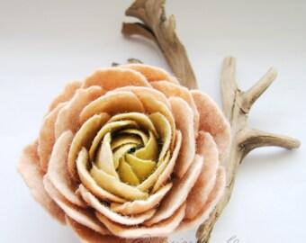 Caramel Cream Olive Green Ranunculus Spring Flower Pin Brooch Corsage