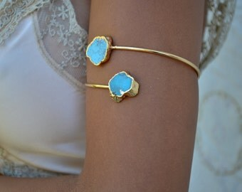 ARM BAND /// Upper Arm Cuff /// Turquoise Gemstone Arm Wrap/// Gold