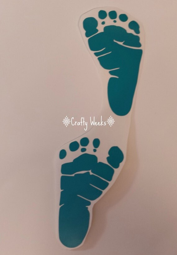 Teal baby feet vinyl decal by craftyweeks on etsy