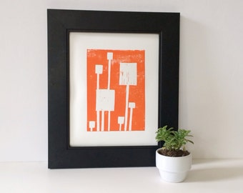 Geometric Mid Century Modern Linocut PRINT Orange and White Squares 8 x 10