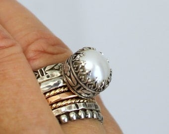 Pearl Ring - Sterling Silver Pearl Ring - White Pearl Ring - Custom Pearl Ring