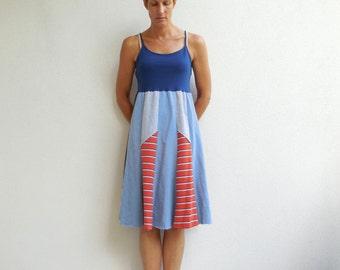 T-Shirt Dress Women's Recycled Tee Dress Tank Top Navy Blue Orange Gray Handmade Dress Cotton Dress Upcycled Dress ohzie