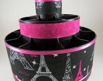PARIS AT NIGHT - Pink and Black Altered Pampered Chef Tool Caddy - Make up organizer