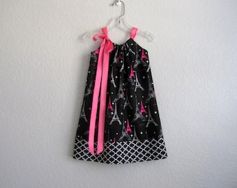 Girls Eiffel Tower Dress - Paris Inspired Dress - Black with Pink and White - Paris Party Dress - Size 12m, 18m, 2T, 3T, 4T, 5, 6, 8, or 10