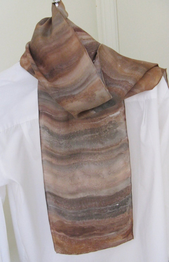 Hand painted silk scarf  brown tones grey striped design 8x54 long scarf Canada made design
