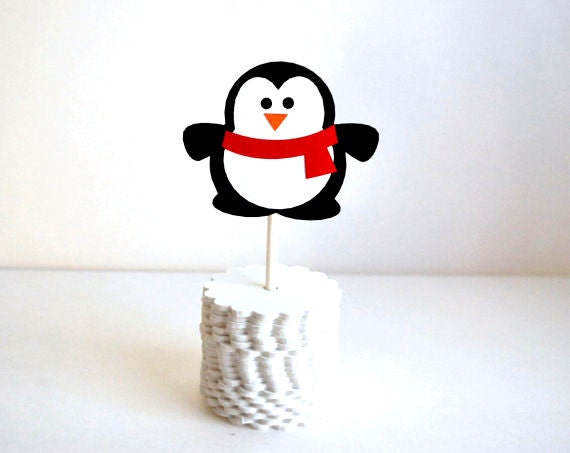 DIY Penguin Cupcake toppers, SET 12 Red Scarf penguins , all you need to create 12 Penguin Cupcake toppers A271