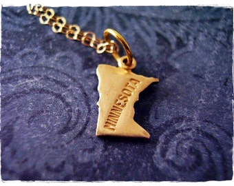 Tiny Gold Minnesota State Necklace - Raw Brass Minnesota Charm on a Delicate 14kt Gold Filled Cable Chain or Charm Only