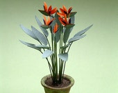 Strelitzia or Birds of Paradise Paper Flower Kit  for 1/12th scale Dollhouses, Florists and Miniature Gardens