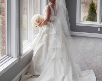 Wedding Veil - Cathedral Two Tier Veil with Scattered Swarovski Crystals - Cut Edge Veil