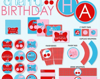 Cherry Party PRINTABLE Birthday by Love The Day