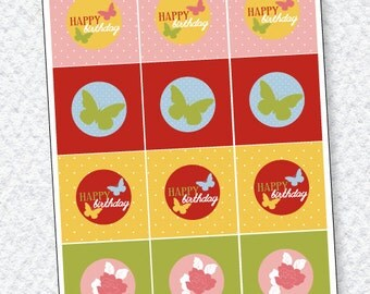 Butterfly Tea Party PRINTABLE Birthday Circles by Love The Day