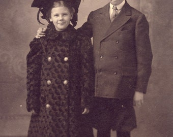 Brother and Sister In FANCY Edwardian DRESS and HATS Photo Circa 1905