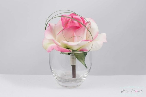 Baby Pink Rose Boutonniere. Real Touch Flowers for men. white ivory yellow orange coral peach green red fuchsia