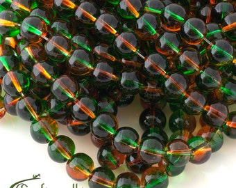 Orange and green ombre glass beads 10mm round - set of 20 beads