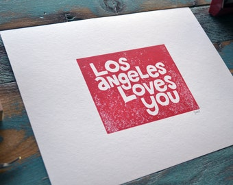 Los Angeles Loves You - Linocut Print  - 8 1/2 x 11 - Printmaking - Teal - Recycled Paper - California