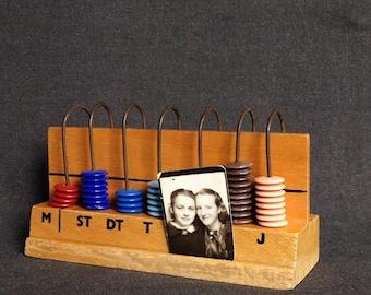 Vintage 1960s multicolor Czech mini abacus. Fun math retro counter.