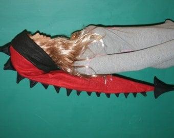 Red Black Dragon Tail Hat Extra Long Dragon Dinosaur Tail  Warm Fleece Winter Ski Hat