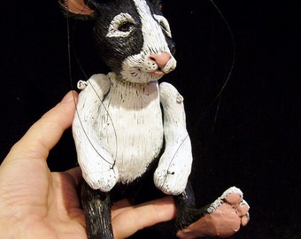 black and white rabbit marionette, MADE-TO-ORDER