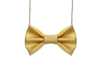 Pastel Yellow - Bow Tie Necklace, Casual Funky Light Yellow Bowtie, Pale Yellow