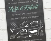 Printable Digital File - Couples Shower Chalkboard Invitation - Honey Do - Customizable - Tools, Garden, Gadgets, Kitchen, Wedding, Co-Ed