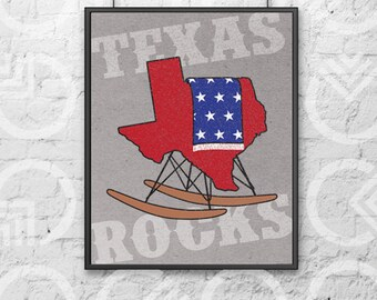 """Instant Download - Printable - 8""""x10"""" Art Print - """"Texas Rocks"""" - TX-Shaped Eames Rocker with Stars and Stripes Blanket"""