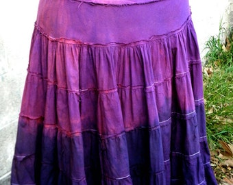 Skirt - Vintage Upcycled Cotton Ruffled Raw Edged Hand Dyed Luminous Color Ombre Boho Artwear