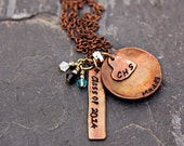 Graduation Necklace - Hand-Stamped Unique Heart Pendant with Swarovski Crystal Charms